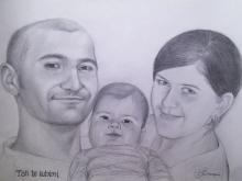 Tablou de familie desenat in creion