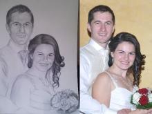 Portret de nunta desenat in creion