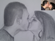 Tablou desenat cuplu sarutandu-se