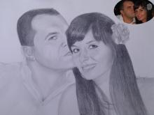 Tablou desenat in creion al unui cuplu de indragostiti
