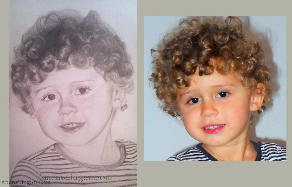 Anca Suiugan Portrete Desenate în Creion Cu Copii Oferă Cadou Un