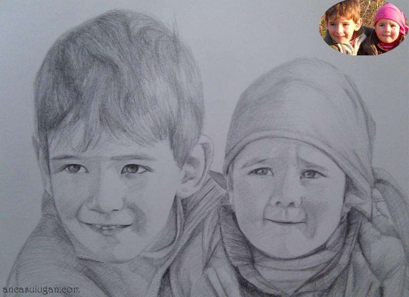 portret in creion cu 2 copii