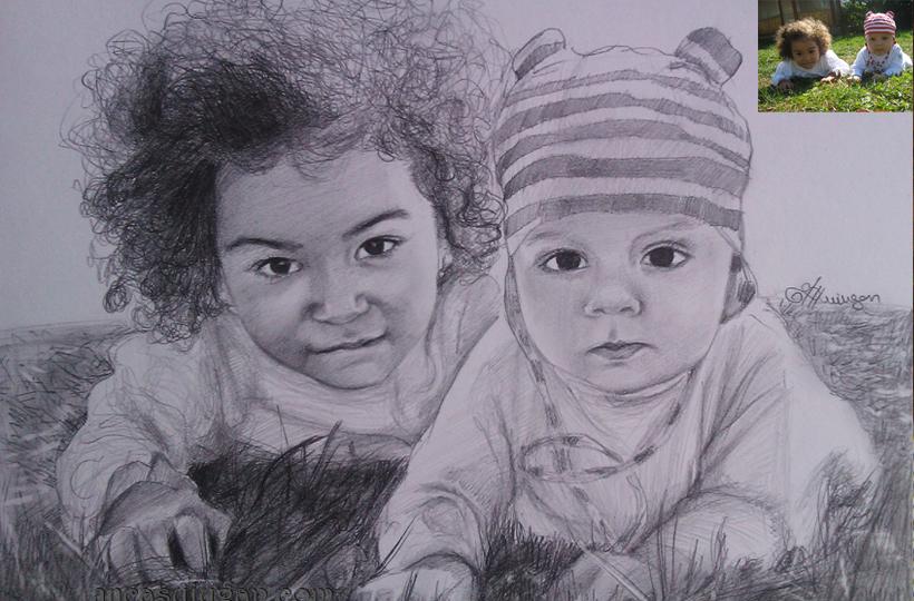desen in creion cu 2 copii | de Anca Suiugan
