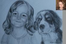portret de fata cu un catel