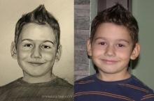 baietel desenat in creion