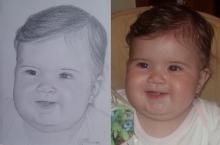 portretul in creion al unui bebelus frumos