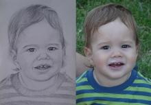 portret in creion al unui copilas scump