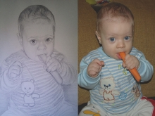 portret in creion al unui copilas cu un morcov