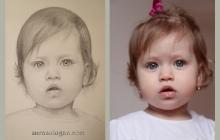 Portret fetita desenat de Anca Suiugan