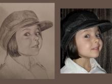 portret desenat al unei fetite dragute