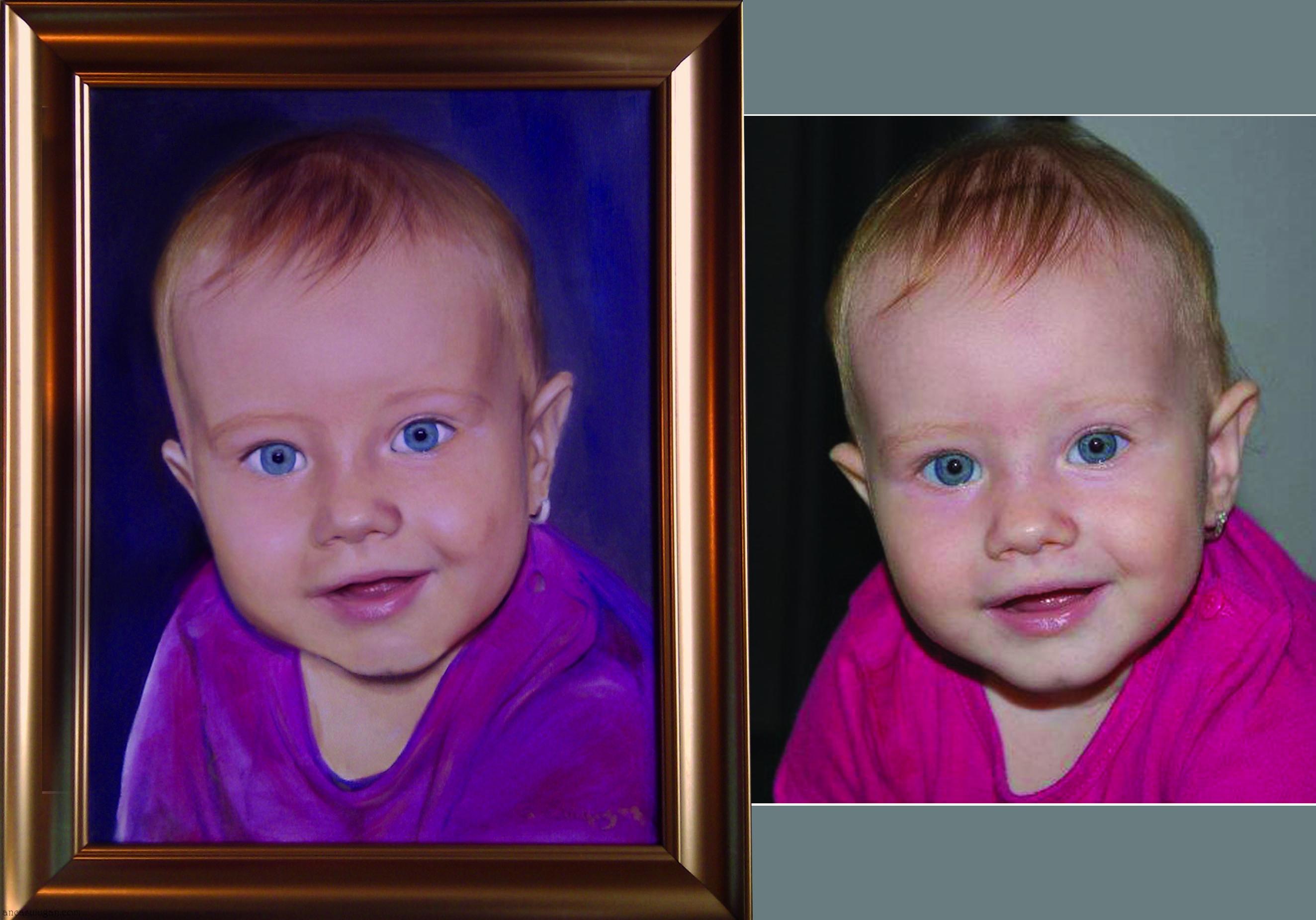 Fetita pictata in ulei pe panza | de Anca Suiugan