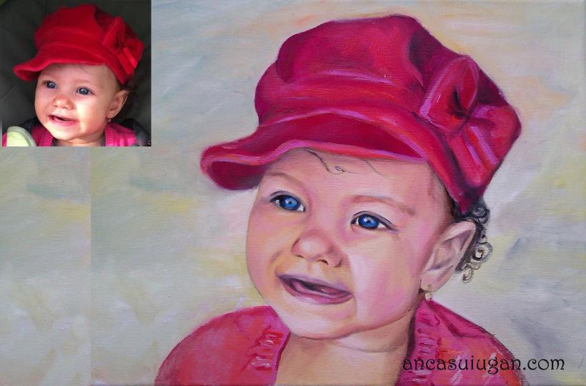Copil pictat intr-un portret in ulei | de Anca Suiugan