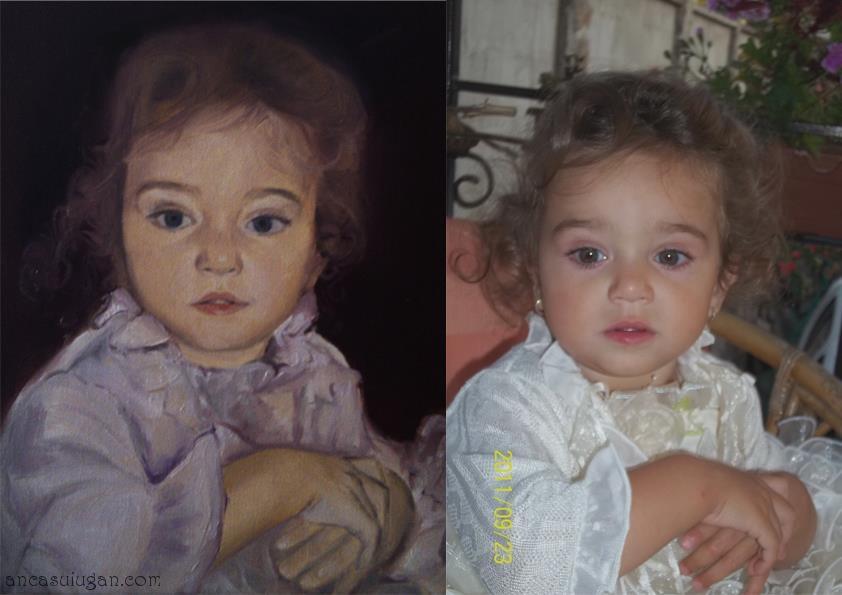 Copil pictat intr-un portret in ulei   de Anca Suiugan